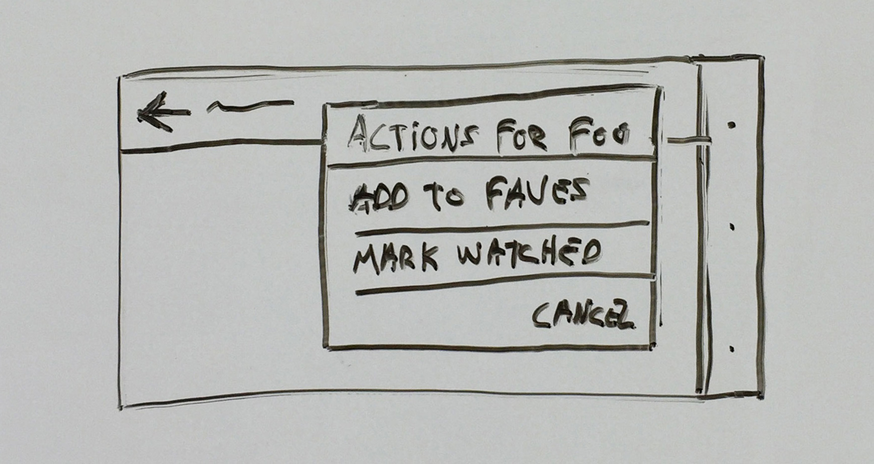 "shows context menu for item ""Foo"" with options to add to faves, mark as watched, and cancel"