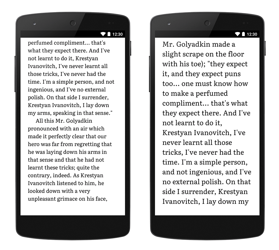 google play books with default size text on left and large text enabled on right