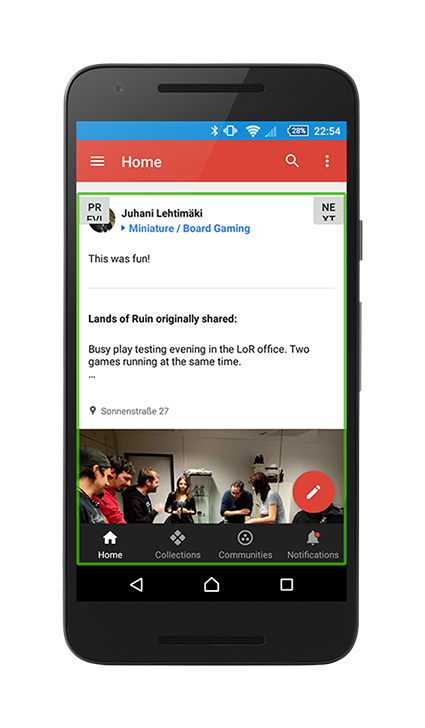 google plus showing talkback focus around a post