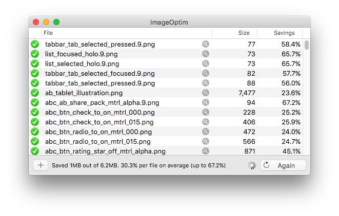 This is what running ImageOptim on the Google+ APK looks like, while it's still churning