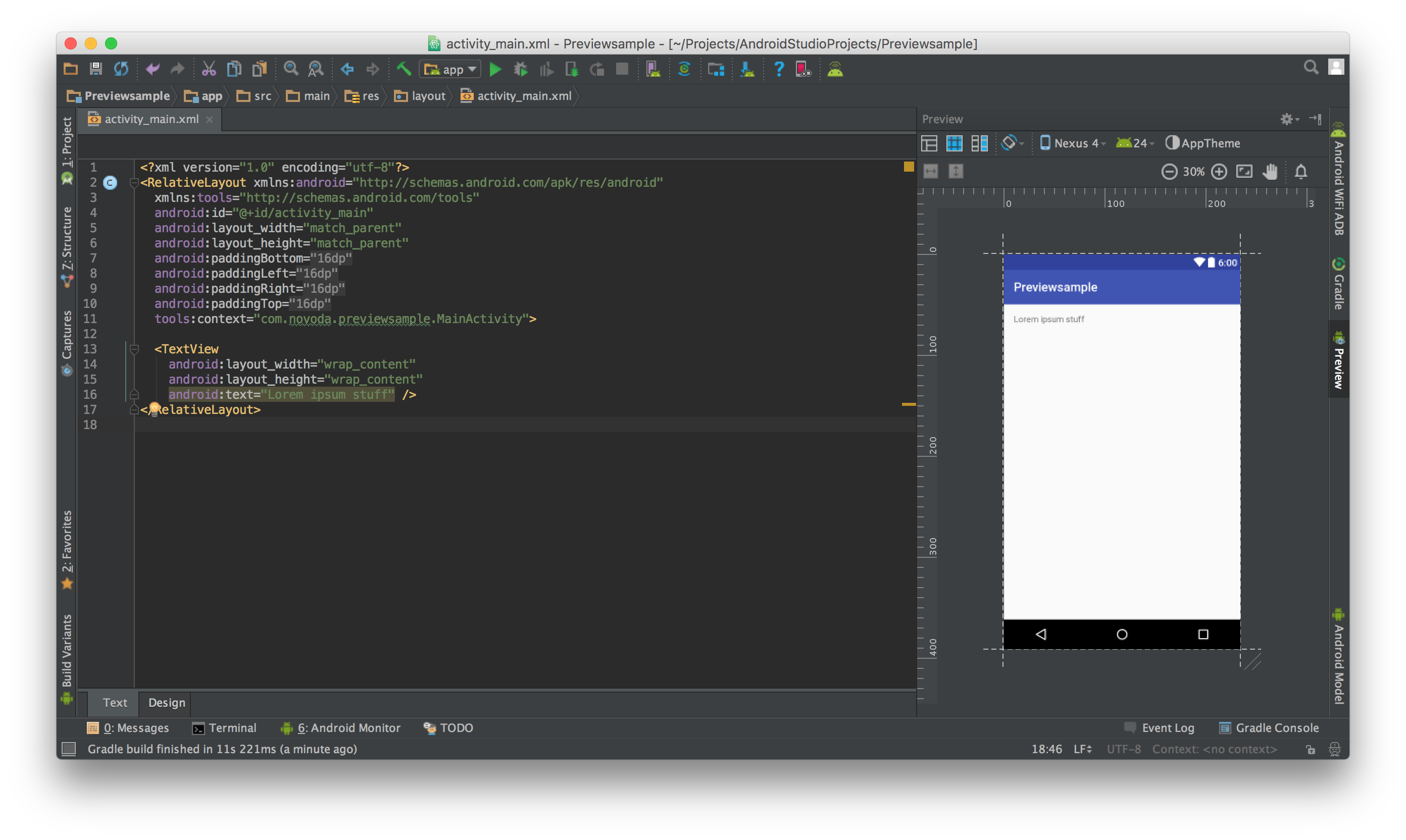 Preview of the Layout Preview screen in Android Studio