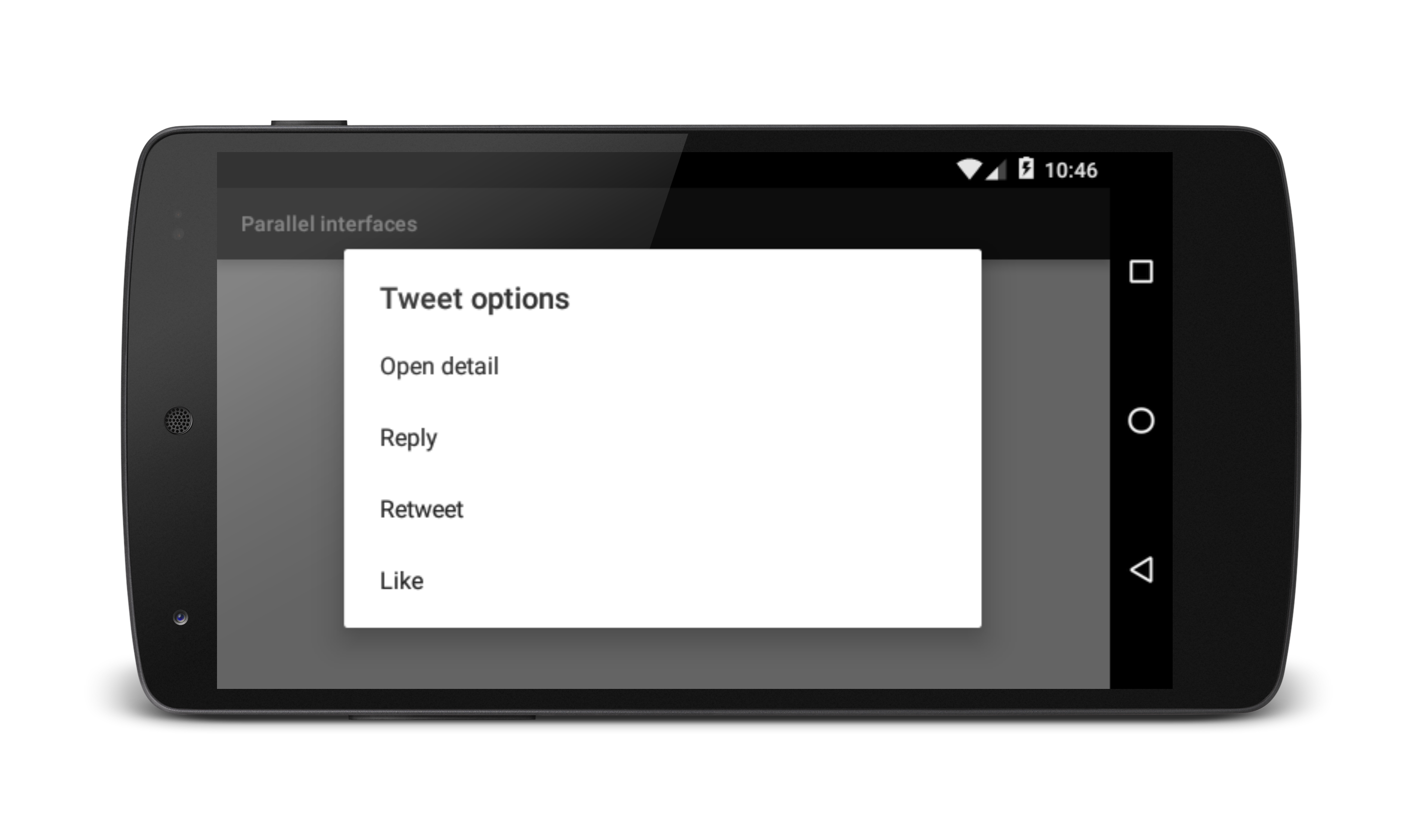 "screenshot of simple view with dialog overlay, titled ""tweet options"". dialog contains 4 actions: ""open detail"", ""reply"", ""retweet"", and ""like"""