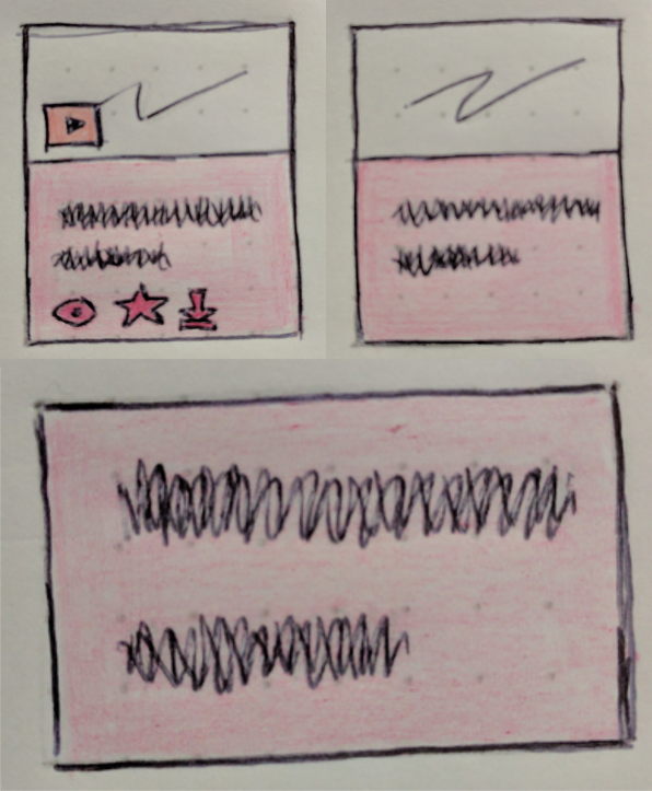 sketch showing three versions of Video in list. Top left: with image, text, play button, mark watched icon, favourite icon and download icon. Top right: image and text. Bottom: just text