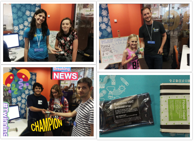 collage of 4 photos showing Novoda representatives presenting prizes to the winners