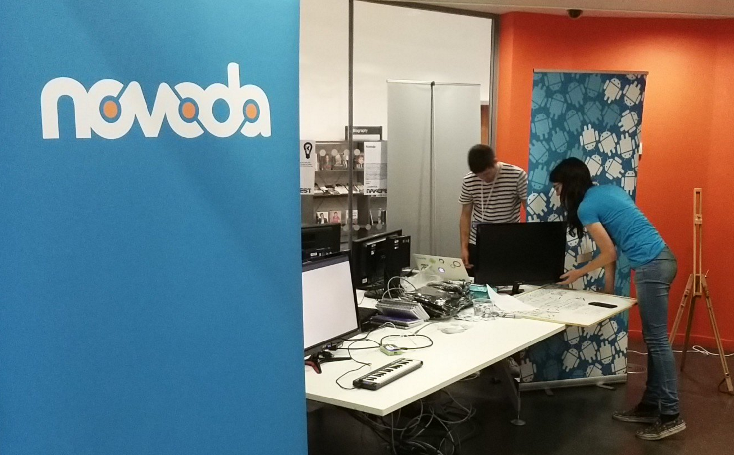 novoda representatives setting up the demos for makefest