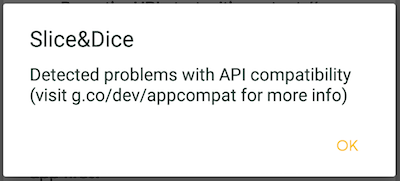 API compatibility dialog on P DP1